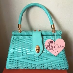 Pinup Couture Turquoise Wicker Handbag